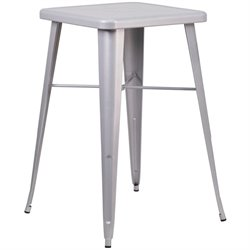 Flash Furniture Metal Square Bar Table in Silver