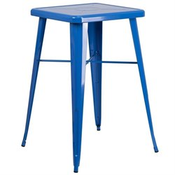 Flash Furniture Metal Square Bar Table in Blue
