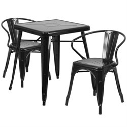 Flash Furniture Metal 3 Piece Bistro Set in Black