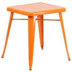 Flash Furniture Metal Square Bistro Table in Orange
