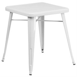 Metal Square Bistro Table in White
