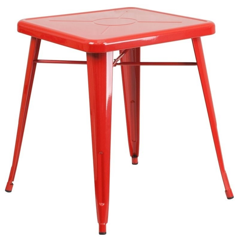 Metal Square Bistro Table In Red