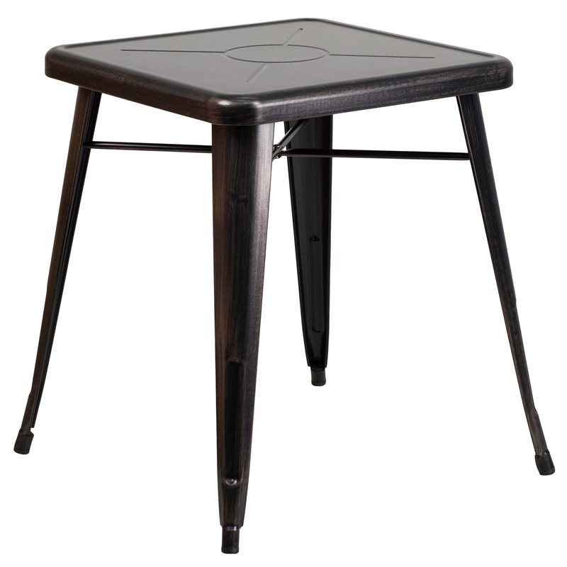 Metal Square Bistro Table In Black Antique Gold