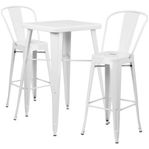 Metal 3 Piece Bar Table Set in White
