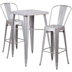Flash Furniture Metal 3 Piece Bar Table Set in Silver