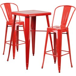 Flash Furniture Metal 3 Piece Bar Table Set in Red
