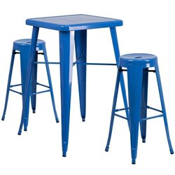 Flash Furniture Metal 3 Piece Bar Table Set in Blue