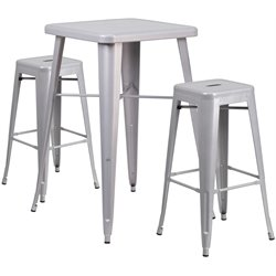 Metal 3 Piece Bar Table Set in Silver