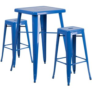 Metal 3 Piece Bar Table Set in Blue