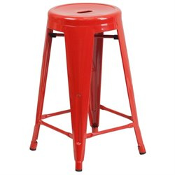 Metal 24'' Backless Counter Stool in Red
