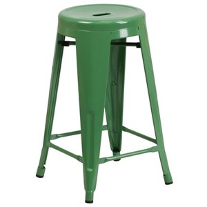 Metal 24'' Backless Counter Stool in Green