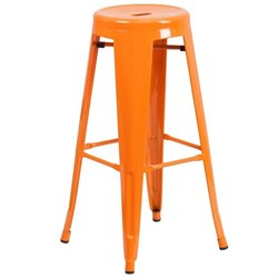 Metal 30'' Backless Bar Stool in Orange