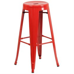 Metal 30'' Backless Bar Stool in Red