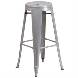 Flash Furniture Metal 30'' Backless Bar Stool in Silver