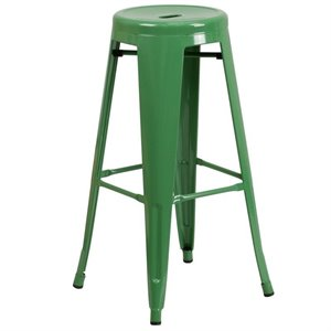 Metal 30'' Backless Bar Stool in Green
