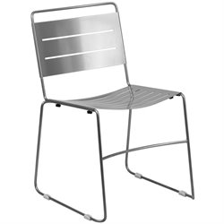 Flash Furniture Hercules Metal Stack Dining Chair in Silver