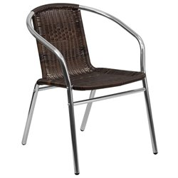 Flash Furniture Aluminum Rattan Dining Chair in Dark Brown