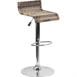 Flash Furniture Wicker Backless Adjustable Bar Stool in Brown