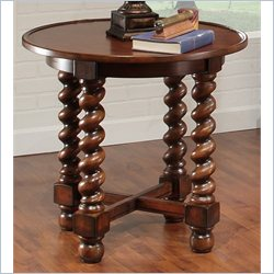 Largo Furniture Normandy Round End Table in Antique Oak
