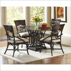 Largo Furniture Turks Isle 5 Piece Dining Set in Brown Cane
