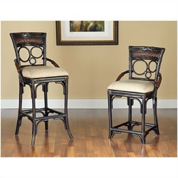 Largo Furniture Turks Isle Stool in Black and Brown Cane - 24