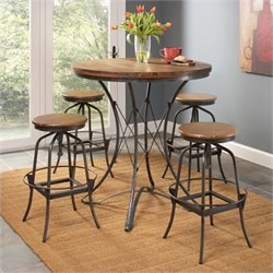 Largo Furniture Abbey 5 Piece Dinette Set with Adjustable Swivel Stools in Weathered Brown
