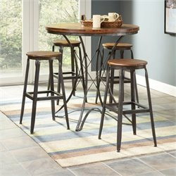 Largo Furniture Abbey 5 Piece Dinette Set w/ Backless Stools in Weathered Brown