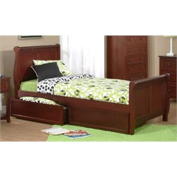 NE Kids School House Storage Sleigh Bed in Cherry-MER-1211-56