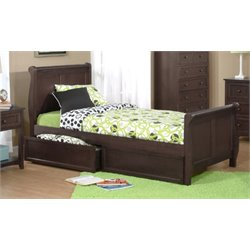 NE Kids School House Storage Sleigh Bed in Chocolate-MER-1211-57