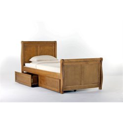NE Kids School House Storage Sleigh Bed in Pecan-MER-1211-58