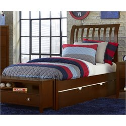NE Kids Pulse Sleigh Bed with Trundle in Cherry-MER-1211-37