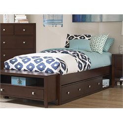 NE Kids Pulse Storage Platform Bed in Chocolate-MER-1211-66