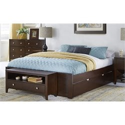 NE Kids Pulse Platform Bed with Trundle in Chocolate-MER-1211-43