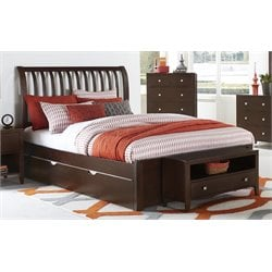 NE Kids Pulse Sleigh Bed with Trundle in Chocolate-MER-1211-38