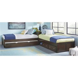 NE Kids Pulse Twin L Shaped Bed in Chocolate-MER-1211-133