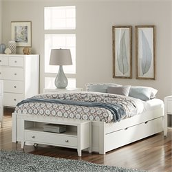 NE Kids Pulse Platform Bed with Trundle in White-MER-1211-46