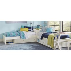NE Kids Pulse Twin L Shaped Bed in White-MER-1211-134