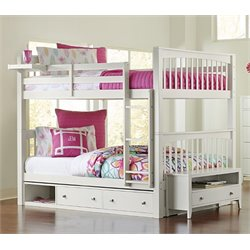 NE Kids Pulse Storage Slat Bunk Bed in White-MER-1211-75