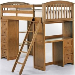 NE Kids School House Student Loft Bed in Pecan