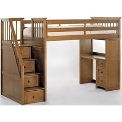 NE Kids School House Stair Loft Bed in Pecan