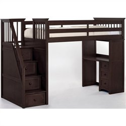 NE Kids School House Stair Loft Bed in Chocolate