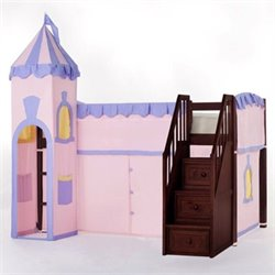 NE Kids School House Princess Loft Bed with Stairs in Cherry