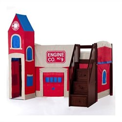 NE Kids School House Firehouse Loft Bed with Stairs in Cherry