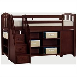 NE Kids School House Storage Junior Loft Bed with Stairs in Cherry