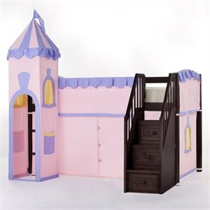 NE Kids School House Princess Loft Bed with Stairs in Chocolate