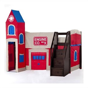 NE Kids School House Firehouse Loft Bed with Stairs in Chocolate