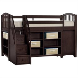 NE Kids School House Storage Junior Loft Bed with Stairs in Chocolate