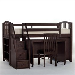 NE Kids School House Junior Loft Bed with Stairs in Chocolate