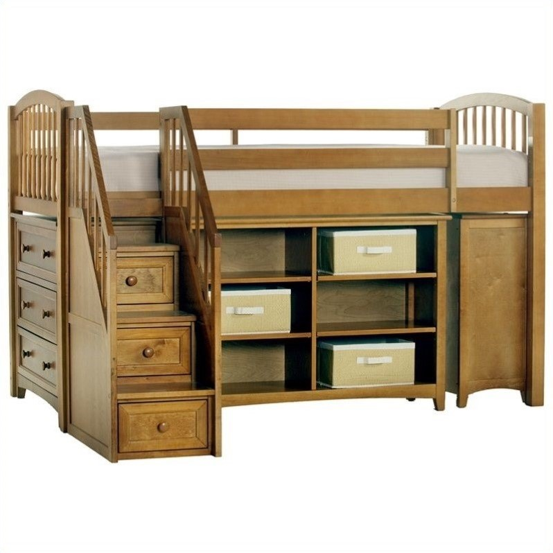 Ne kids school house storage junior loft bed with stairs for Junior bunk bed