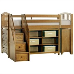 NE Kids School House Storage Junior Loft Bed with Stairs in Pecan